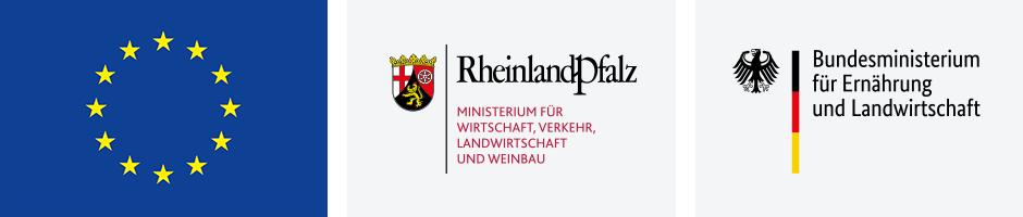 Logos: Europaflagge, Ministerium für Wirtschaft, Verkehr, Landwirtschaft und Weinbau Rheinland-Pfalz, Bundesministerium für Ernährung und Landwirtschaft